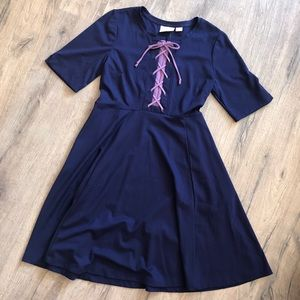 Maeve   Blue lace-up fit and flare dress